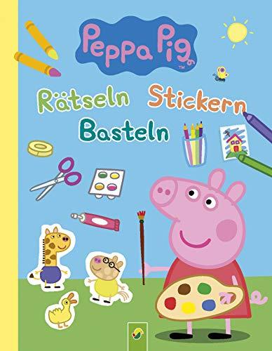 Peppa Pig Rätseln Stickern Basteln: Mit 4 farbigen Stickerseiten