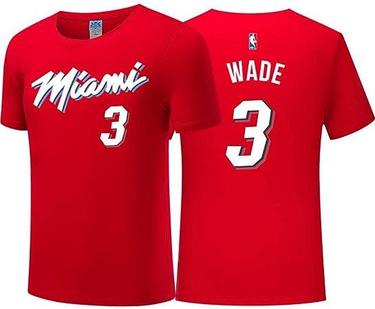 Camiseta para Hombre City Edition Wade # 3 Baloncesto Desgaste Top NBA Jerseys Miami Heat Fan T-Shirt Red-M: Amazon.es: Hogar