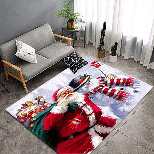 XuJinzisa Muñeco De Nieve Regalo De Santa Alfombra De Impresión 3D Sala De Estar Dormitorio Hogar Alfombra De Juego Suave Antideslizante Alfombra Decorativa para El Hogar 60X100Cm H17169