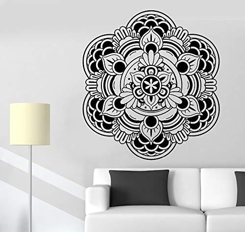 Calcomanía Yoga Buda Mandala Flor de loto Patrón Meditación Vinilo Etiqueta de la pared Cartel mural Dormitorio Sala de estar Yoga Studio Club Decoración del hogar
