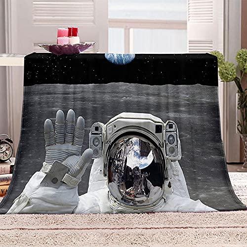 Manta De Cama 3D Astronauta Manta Reversible Suave y Esponjosa De Lana Estampado Manta de Dormitorio para Cama Infantil Individual Matrimonio 150x200cm