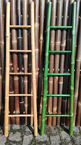 Bambusleiter Leiter Handtuchhalter Bambus 180 cm x 48 / 34 cm grün