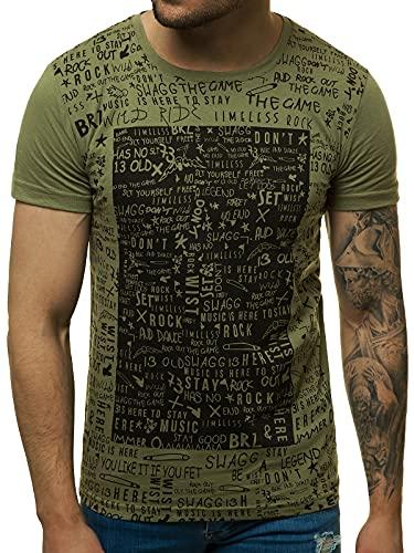OZONEE Herren T-Shirt T Shirt Tshirt Kurzarm Kurzarmshirt Tee Top Sport Sportswear Rundhals U-Neck Rundhalsausschnitt Aufdruck Motiv Print O/1173 GRÜN L