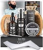 Kit Soins Barbe pour Hommes, Set Outils Complet de Toilettage et Coupe – Shampoing Barbe, Huile...
