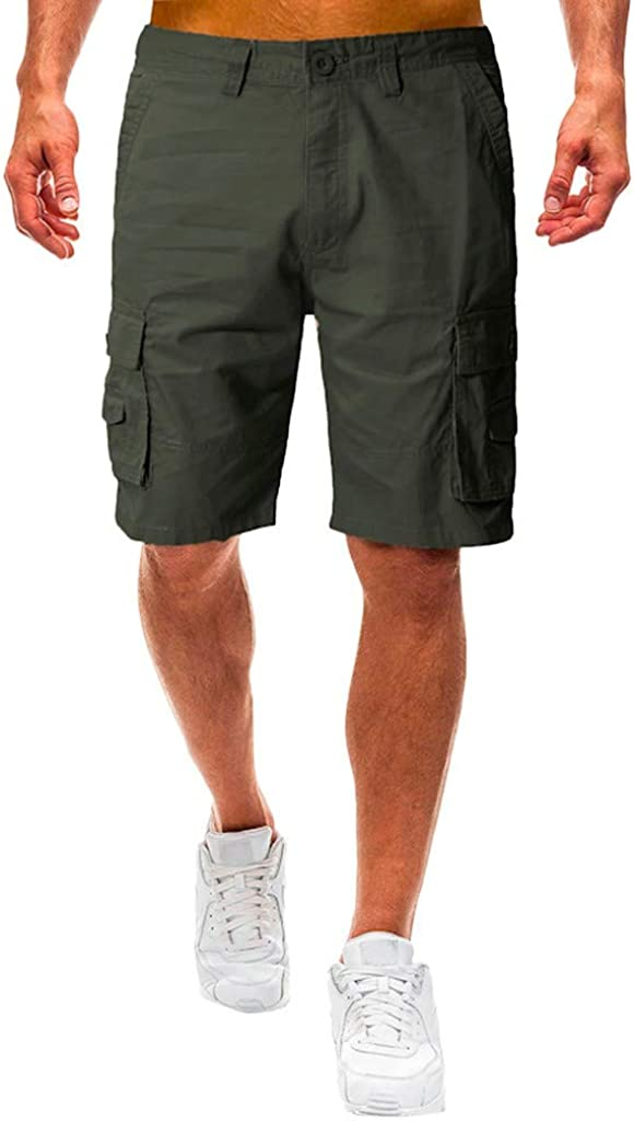 Cargo Shorts Forthery Men's Casual Pure Color Relaxed Fit Multi-Pocket Beach Work Trouser Cargo Shorts Pant(Army Green,32)