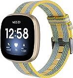 Gransho Correa de Reloj de NATO Nailon Compatible con Fitbit Versa 3 / Fitbit Sense, Mujer y Hombre, Hebilla de Acero Inoxidable (Pattern 8)