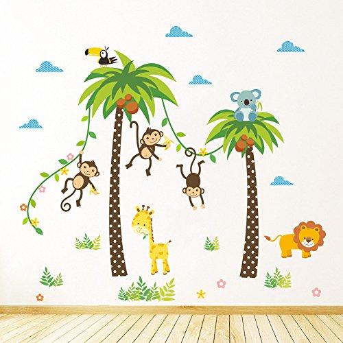Rainbow Fox bébé Arbre Autocollant Mural Singe Hibou éléphant Vinyle Stickers muraux pour garderie décoration (ZY134)