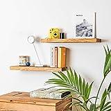 Juego de 2 estantes flotantes de pared para libros, imágenes, estantes de pared de madera maciza (60 cm), estilo rústico, para cocina, baño, oficina, dormitorio, sala de estar, habitación de los niños