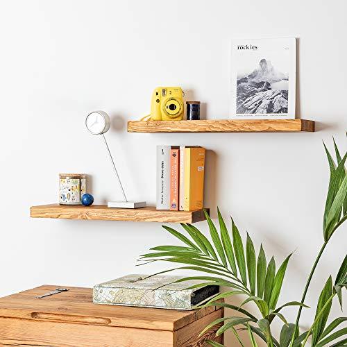 Schweberegale 2er Set aus Holz, Wandboard für Bücher, Bilder, Wandregal aus Massivholz (60 cm), Rustikale Hängeregale für Küche, Bad, Büro, Schlafzimmer, Wohnzimmer, Kinderzimmer