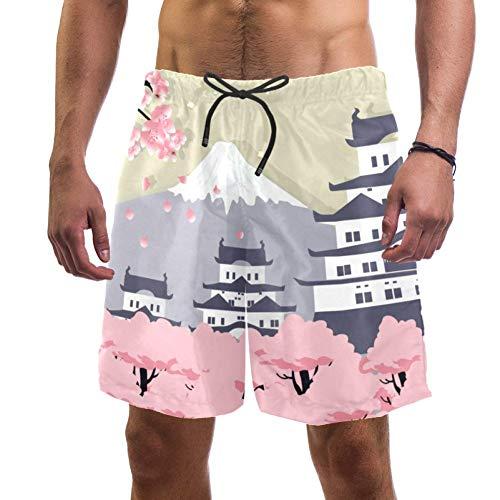 Muooum Herren-Badehose, schnelltrocknend, japanisches Passepartout, Fuji Kirschblütenmuster, elastischer Badeanzug mit Netzfutter Gr. XXL, mehrfarbig