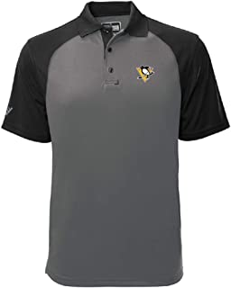 Levelwear NHL Pittsburgh Penguins Mens Strike Insignia Polo, Pebble/Black, Medium