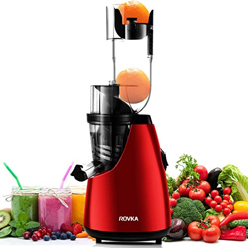 ROVKA Slow Masticating Juicer Extractor,3.15 Inches Wide Chute Cold Press Juicer for Easy Juice,High Juice Yield for Fruit and Vegetable, Red