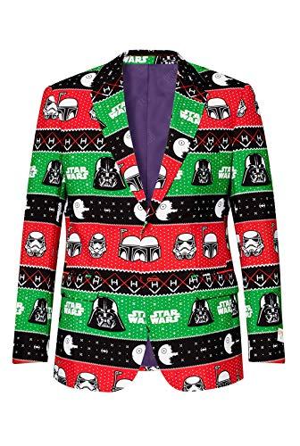 OppoSuits Star Wars Weihnachtsblazer für Herren - Festive Force - Jacken für Herren in verschiedenen Drucken inkl. Jackett & Krawatte - Darth Vader - Stormtrooper - Größe 52