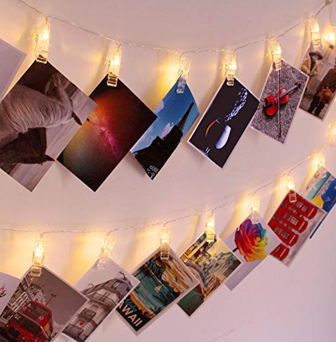 30 LED Photo Clips Luces de cadena, luces interiores de Navidad, USB Powered, 12 pies, hermosa luz blanca cálida - para colgar fotos fotos y notas, regalo ideal para dormitorios decoración