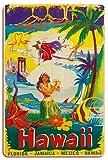 Pacifica Island Art Hawái Florida Jamaica México - Diario de Viaje Territorio de Hawái de, Estados Unidos - Póster de película de Børge Larsen c.1951 - Letrero de Madera 20x30cm