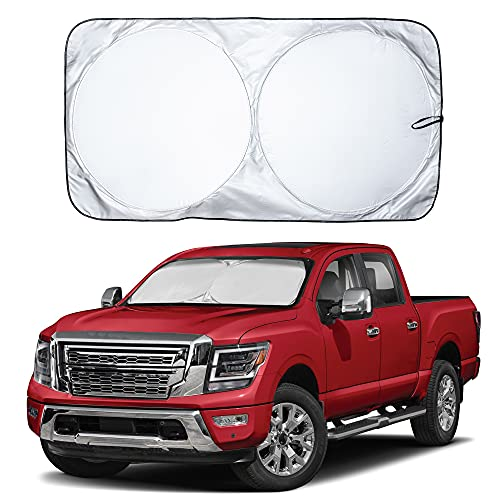 EcoNour Car Windshield Sun Shade with Storage Pouch | Durable 240T Material Car Sun Visor for UV Rays and Sun Heat Protection | Car Interior Accessories for Sun Heat | Large (69 inches x 35 inches)