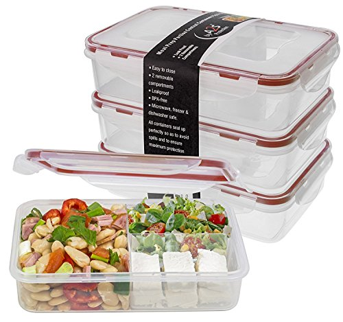 Bento Lunch Box 3pcs set 24oz - Meal Prep Containers Microwavable - BPA Leak Proof - Portion Control Containers - Food Containers Meal Prep 3 Compartments Dishwasher Friendly - Snap Locking Lid