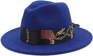 SGJFZD Men's Women's Winter Wool Fedora Hat Church Jazz Hat Wide Brim Cloche Hat Fascinator Size 56-58CM (Color : Blue, Size : 56-58)
