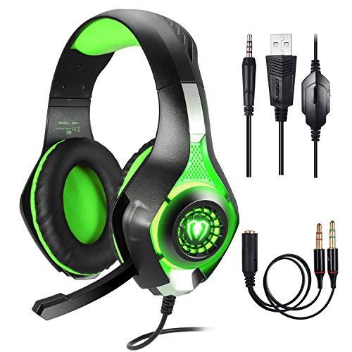 Gaming Headset für PS4 PC Xbox One Computer, Samoleus Stereo 3.5 mm Gaming Kopfhörer mit Mikrofon, LED Lichtfür PS4, PC, Mobiltelefon, Laptops, Smartphone, Playstation 4 (Green)