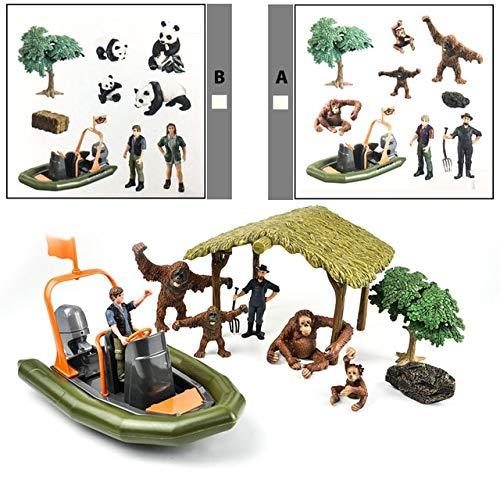 Wilde jungle onderzoeksstation boerderij dierenfiguren Boer Corral hek paardenstal quad fietsaanhanger Rubberboot ranger speelgoed, ZJ118 A of B willekeurig