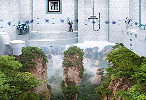 Benutzerdefinierte wasserdicht-Tapete-für-Bad 3d Bodenbelag Berglandschaft chinesische Tapeten Wandbilder 3d Bodenfliesen Foto Wand mura @ 400 * 280cm