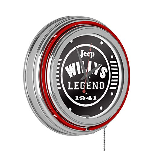 Trademark Global Neon Wall Clock-Jeep Willys Legend Black Double Rung Analog Clock with Pull Chain-Pub, Garage, or Man Cave Accessories (Red)