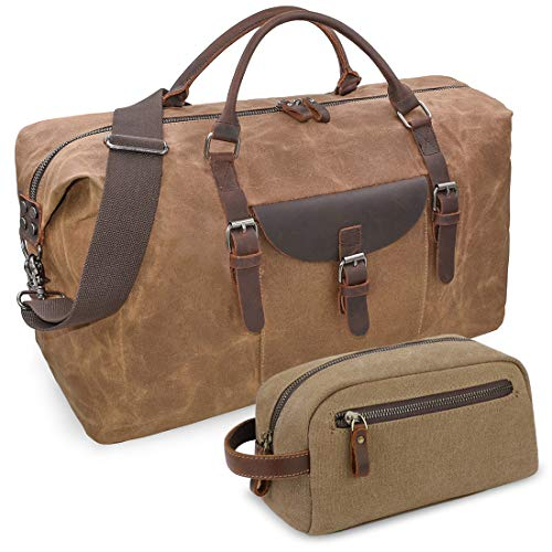 Oversized Travel Duffel Bag Waterproof Canvas Weekender Leather Overnight Hand Bag with Toiletry Bag