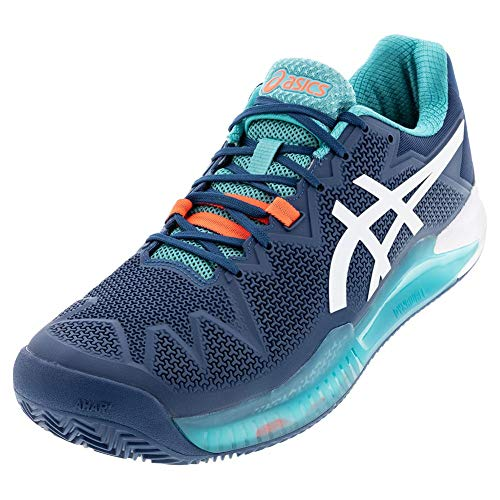 ASICS Men's Gel-Resolution 8 Clay Tennis Shoes, 10M, MAKO Blue/White