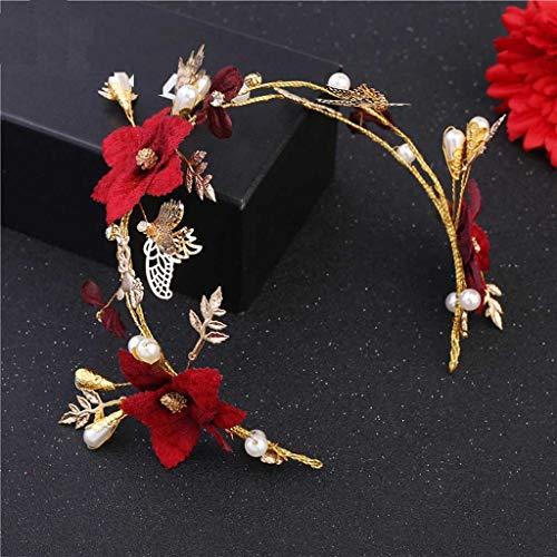 JJZXD Vintage Red Rose Flower Headbands for Bridal Baroque Butterfly Hairband Tiaras Women Wedding Gold Crown Pearl Headdress