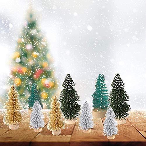 HJTLK 49 Piezas Mini árbol de Navidad Seda de sisal con decoración de Pino Cedro Conjunto de árbol de Navidad pequeño Adorno de decoración navideña Bolsa de Regalo