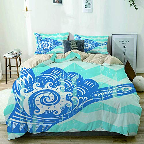 Yoyon Beige Duvet Cover,Hang Loose Hand Signal Surf Hand Sign,3 Pieces Quality Printed Microfiber Bedding Set,Modern Design with Softness Comfortable