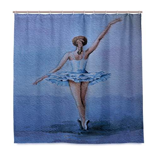 TropicalLife Luckyeah Duschvorhang, Ballerina, Balletttänzerin, wasserdicht, dekorative Badezimmer-Gardinen mit Haken für Zuhause, Hotel, 180 x 180 cm