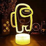 Luz de noche 3D Among Us Regalo para 5 años de edad 16 cambio de color lámpara de decoración con control remoto e inteligente, regalos de Navidad y cumpleaños para niños y niñas