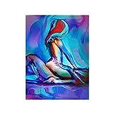 WKAQM Sexy Sala de Sin Marco Colorido Mujeres Acuarela Pared Pintura Abstracto Arte Fotos Hombres Salon Recamara Poster Estampados Decorativo 40 × 60cm