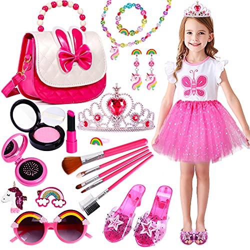 Tacobear Kinderschminke Mädchen Prinzessin Kostüm Schmuck Zubehör Set mit Tüllrock Prinzessin Krone Schuhe Handtasche Einhorn Ohrringe Halskette Prinzessin Party Spielzeug Geschenk für Kinder Mädchen