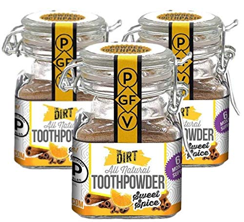 The Dirt All Natural Tooth Powder - Gluten & Fluoride Free Organic Teeth Whitening Powder with Essential Oils | No Added Sweeteners, Artificial Flavors or Colors - Sweet Spice, 6 Month Supply
