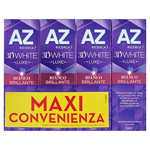AZ Dentifricio 3D White Luxe Bianco Brillante con Azione Sbiancante Denti Professionale 4 x 75 ml