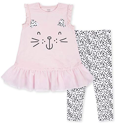 Gerber Baby Girls' Tunic and Legging Set, Pink Kitty, 12 Months