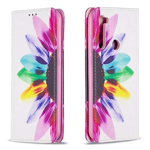 Miagon Brieftasche Hülle für Xiaomi Redmi Note 8,Kreativ Gemalt Handytasche Case PU Leder Geldbörse mit Kartenfach Wallet Cover Klapphülle,Sonnenblume