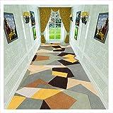 DHTOMC Alfombra antideslizante para pasillo, patrón poligonal, protección de suelo y tacto suave permanente, 0,9 x 4 m