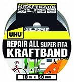 UHU Kraftband, Extra-starkes Gewebeband zum Reparieren, silber, 50 mm x 10 m