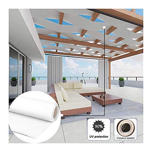 GDMING-Sichtschutznetz Sonnensegel Streifen Außen Terrasse Markise Wasserdicht 90% UV-Schutz Zaun Dekoration Zum Veranda Pergola Balkon Polyester, 30 Größen (Color : White, Size : 0.8x7m)