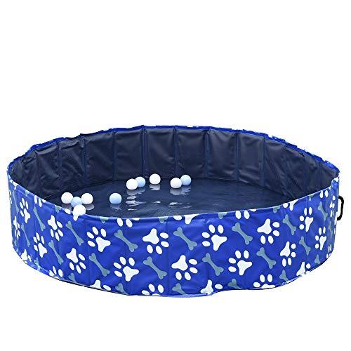 Pawhut Piscina Rigida per Cani Taglia Grande Superiore a 65kg in Plastica Dura e Antiscivolo per Giardino o Interni, Blu Φ140x30cm