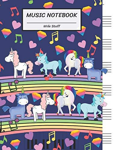 Music Notebook Wide Staff: Rainbow Diamond Heart Unicorns Walk on Bridge,Piano Keyboard/Blank Music Sheet Notebook,Big Staff Paper,Music Manuscript ... Pages,For Boys,Girls, Kids, Beginners.