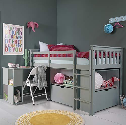 Noa and Nani – Oliver Sleep Station Midsleeper Cabina Cama con Escritorio, Unidad de Almacenamiento cajones y estantes – (Color Gris Seda)