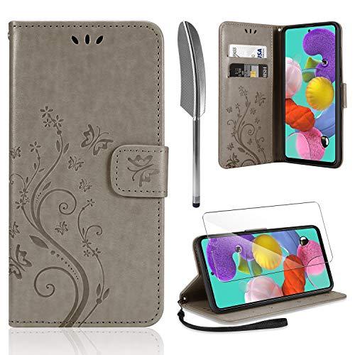 AROYI Lederhülle Samsung Galaxy A51 Hülle + HD Schutzfolie, Samsung Galaxy A51 Flip Wallet Handyhülle PU Leder Tasche Hülle Kartensteckplätzen Schutzhülle für Samsung Galaxy A51 Grau