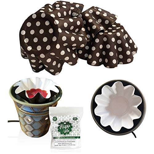 Flippins, Wax Melt Warmer Liners, Large Brown Polka Dot Reusable & Leakproof Liners for Scented Wax Melts, Designed for Electric Wax Warmers, Candle Warmer, Wax Melter and Wax Burner