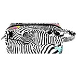 Bolsas de maquillaje, Zebras lindas pequeñas bolsas de maquillaje para mujeres y niñas, bolsa organizadora portátil impermeable con asa