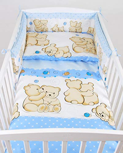 BABYLUX Bettwäsche Bezug 2 Tlg. 100 x 135 cm Kinderbettwäsche Bettwäsche Bettset Babybettwäsche TEDDYBÄREN (63. Teddybären Blau)