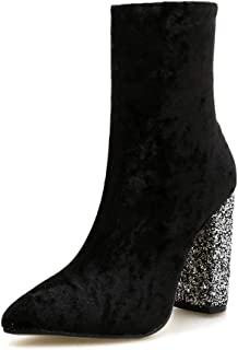 Stupmary Women's Boots Pointed Toe Ankle Bootie Plaid Print Chunky Heels Winter Boots